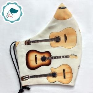 Maszk - egyedi szájmaszk - férfi gitáros szájmaszk - textil szájmaszk - egészségügyi szájmaszk (Pindiart) - Meska.hu