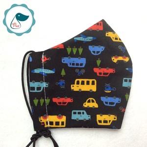 Egyedi szájmaszk - autós - gyerek szájmaszk - textil szájmaszk - egészségügyi szájmaszk - mosható szájmaszk, Maszk, Arcmaszk, Gyerek, Baba-és bábkészítés, Varrás, Meska