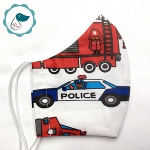 Egyedi szájmaszk - rendőr autós kiskamasz szájmaszk - textil szájmaszk - egészségügyi szájmaszk - mosható szájmaszk (Pindiart) - Meska.hu