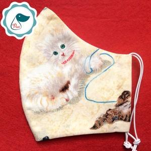 Egyedi szájmaszk - cicás kiskamasz szájmaszk - textil szájmaszk - egészségügyi szájmaszk - mosható szájmaszk (Pindiart) - Meska.hu
