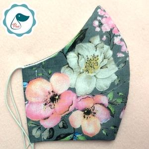 Maszk - egyedi szájmaszk - virágos felnőtt női és teenager szájmaszk - textil szájmaszk - egészségügyi szájmaszk (Pindiart) - Meska.hu