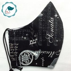 Egyedi szájmaszk - férfi hangszer,hangjegyes mintás szájmaszk - textil szájmaszk - egészségügyi szájmaszk (Pindiart) - Meska.hu