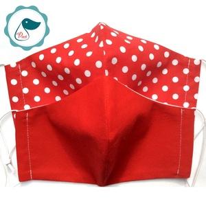 Egyedi 2db szájmaszk - piros - pöttyös felnőtt női és teenager szájmaszk - textil szájmaszk - egészségügyi szájmaszk (Pindiart) - Meska.hu