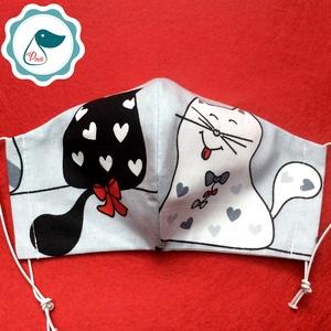 Egyedi szájmaszk -cica felnőtt női és teenager szájmaszk - textil szájmaszk - egészségügyi szájmaszk (Pindiart) - Meska.hu