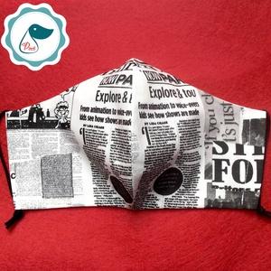 Maszk - egyedi újság mintás szájmaszk - férfi  szájmaszk - textil szájmaszk - egészségügyi szájmaszk (Pindiart) - Meska.hu
