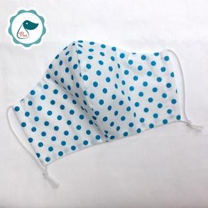 Egyedi szájmaszk -türkíz kék pöttyös felnőtt  női és teenager szájmaszk - textil szájmaszk - egészségügyi szájmaszk (Pindiart) - Meska.hu