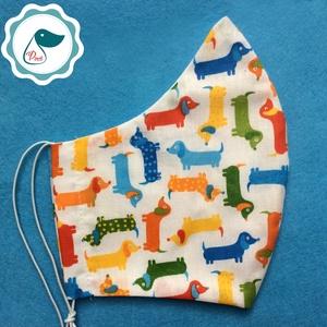 Egyedi szájmaszk - tacskó mintás felnőtt  női és teenager szájmaszk - textil szájmaszk - egészségügyi szájmaszk (Pindiart) - Meska.hu