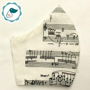 Egyedi törtfehér hangjegy mintás - kiskamasz szájmaszk - textil szájmaszk - egészségügyi szájmaszk - mosható szájmaszk (Pindiart) - Meska.hu