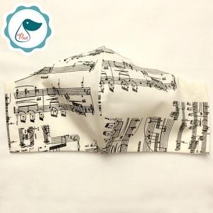 Egyedi törtfehér hangjegy mintás férfi szájmaszk - textil szájmaszk - egészségügyi szájmaszk (Pindiart) - Meska.hu