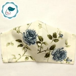 Egyedi krémalapon kék rózsás maszk - felnőtt női és teenager arcmaszk - textil szájmaszk - egészségügyi szájmaszk (Pindiart) - Meska.hu