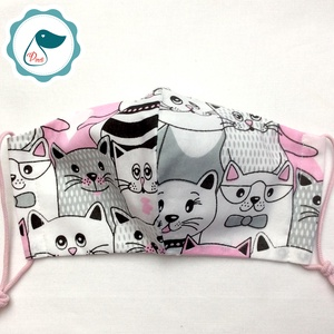 Egyedi cica mintás kiskamasz arcmaszk - textil maszk - egészségügyi szájmaszk - mosható szájmaszk (Pindiart) - Meska.hu