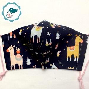 Egyedi sötétkék szines láma mintás - kiskamasz szájmaszk - textil szájmaszk - egészségügyi szájmaszk - mosható szájmaszk (Pindiart) - Meska.hu