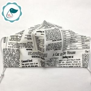 Egyedi újság mintás szájmaszk - férfi szájmaszk - textil szájmaszk - egészségügyi szájmaszk (Pindiart) - Meska.hu