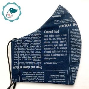 Egyedi kék újság mintás szájmaszk - férfi  szájmaszk - textil szájmaszk - egészségügyi szájmaszk (Pindiart) - Meska.hu