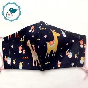 Egyedi sötétkék szines láma mintás -  gyerek szájmaszk - textil szájmaszk - egészségügyi szájmaszk - mosható szájmaszk (Pindiart) - Meska.hu