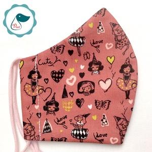 Egyedi mályva kislány mintás maszk -  gyerek arcmaszk - textil szájmaszk - egészségügyi szájmaszk - mosható szájmaszk (Pindiart) - Meska.hu