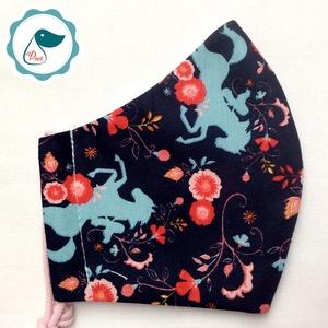 Egyedi sötétkék szines virágos és ló mintás -  gyerek szájmaszk - textil szájmaszk  - mosható szájmaszk (Pindiart) - Meska.hu