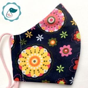 Egyedi sötétkék szines virág mintás -  gyerek szájmaszk - textil szájmaszk  - mosható szájmaszk, Maszk, Arcmaszk, Női, Baba-és bábkészítés, Varrás, Meska
