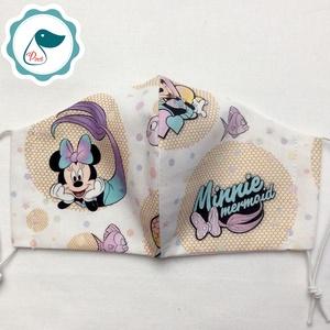 Egyedi - Minnie sellő mintás -  gyerek szájmaszk - textil szájmaszk  - mosható szájmaszk (Pindiart) - Meska.hu