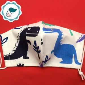 Egyedi dinós maszk - kiskamasz arcmaszk - textil szájmaszk - egészségügyi szájmaszk - mosható szájmaszk (Pindiart) - Meska.hu