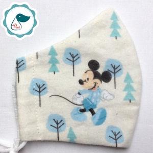 Egyedi mikiegér mintás -   flanel gyerek szájmaszk - textil szájmaszk  - mosható szájmaszk (Pindiart) - Meska.hu