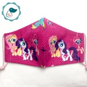 Egyedi póni mintás -   flanel gyerek szájmaszk - textil szájmaszk  - mosható szájmaszk (Pindiart) - Meska.hu