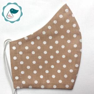 Egyedi drapp pőttyös női és teenager szájmaszk - textil szájmaszk - egészségügyi szájmaszk (Pindiart) - Meska.hu