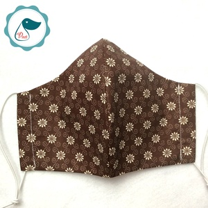 Egyedi barna virég mintás női és teenager szájmaszk - textil szájmaszk - egészségügyi szájmaszk (Pindiart) - Meska.hu