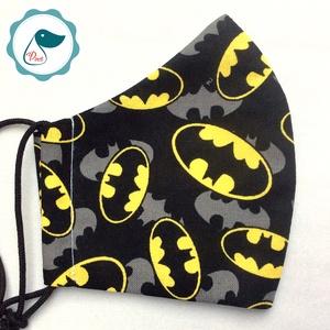 Egyedi batman logo mintás gyerek  szájmaszk - textil szájmaszk - egészségügyi szájmaszk - mosható szájmaszk (Pindiart) - Meska.hu
