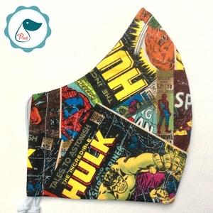 Maszk - szuperhősök - mintás egyedi szájmaszk - férfi szájmaszk - textil szájmaszk - egészségügyi szájmaszk (Pindiart) - Meska.hu