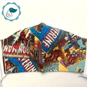 Egyedi - Marvel szuperhősök mintás - felnőtt női és teenager szájmaszk - textil szájmaszk - egészségügyi szájmaszk (Pindiart) - Meska.hu