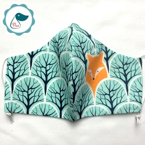 Egyedi róka az erdőben mintás - felnőtt női és teenager szájmaszk - textil szájmaszk - egészségügyi szájmaszk - Meska.hu