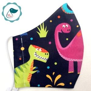 Egyedi dinoszaurusz mintás - kiskamasz szájmaszk - textil szájmaszk - egészségügyi szájmaszk - mosható szájmaszk, Maszk, Arcmaszk, Gyerek, Baba-és bábkészítés, Varrás, Egyedi, mintás, mosható, egészségügyi kiskamasz méretű szájmaszk 7-12 éves korig.\n\nA szájmaszk külön..., Meska
