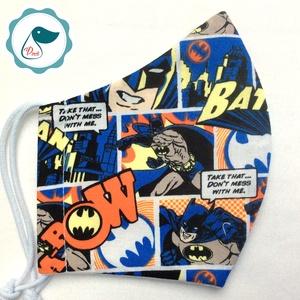 Egyedi batman mintás - kiskamasz - textil szájmaszk - egészségügyi szájmaszk - mosható szájmaszk - Meska.hu