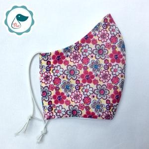 Egyedi pink virág mintás arcmaszk - felnőtt női és teenager maszk - textil szájmaszk - egészségügyi szájmaszk (Pindiart) - Meska.hu