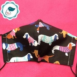 Egyedi tacskó mintás arcmaszk - felnőtt női és teenager maszk - textil szájmaszk - egészségügyi szájmaszk (Pindiart) - Meska.hu
