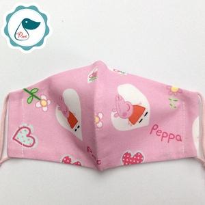 Egyedi peppa malac maszk- gyerek arcmaszk - textil szájmaszk - egészségügyi szájmaszk - mosható szájmaszk - Meska.hu