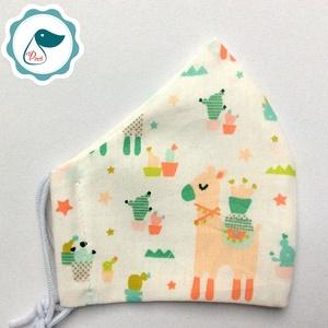Egyedi lámás maszk- gyerek  arcmaszk - textil szájmaszk - egészségügyi szájmaszk - mosható szájmaszk - Meska.hu