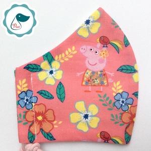 Egyedi peppa malac maszk- gyerek arcmaszk - textil szájmaszk - egészségügyi szájmaszk - mosható szájmaszk, Maszk, Arcmaszk, Gyerek, Baba-és bábkészítés, Varrás, Meska