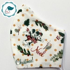Egyedi - Mikiegér karácsonyi maszk - kiskamasz arcmaszk - textil szájmaszk - egészségügyi szájmaszk - mosható szájmaszk (Pindiart) - Meska.hu