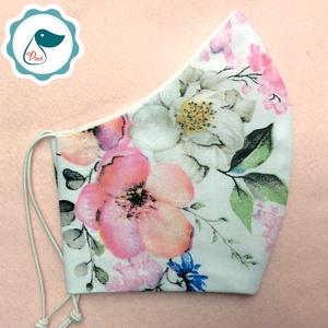 Egyedi  rózsa mintás arcmaszk - felnőtt női és teenager maszk - textil szájmaszk - egészségügyi szájmaszk - Meska.hu