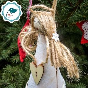 Egyedi - karácsonyi  forgács angyalka dísz - karácsonyi dekorácíó angyalka - karácsonyfa dísz (Pindiart) - Meska.hu