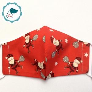Egyedi télapós maszk - karácsonyi gyerek  arcmaszk - textil szájmaszk - egészségügyi szájmaszk - mosható szájmaszk (Pindiart) - Meska.hu