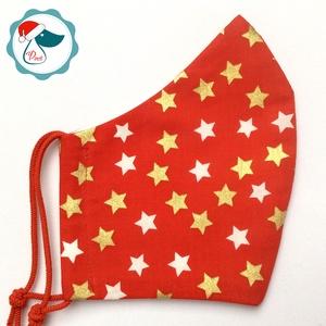 Egyedi karácsonyi arany mintás maszk - felnőtt női és teenager arcmaszk - textil szájmaszk - egészségügyi szájmaszk, Maszk, Arcmaszk, Női, Varrás, Egyedi, mintás, mosható egészségügyi női és teenager méretű szájmaszk.\n\nA szájmaszk különlegessége, ..., Meska