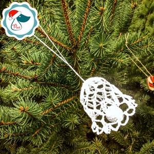 Egyedi horgolt  harang - Karácsonyfa dísz - karácsonyi dekorácíó- karácsonyi ajándék  (Pindiart) - Meska.hu