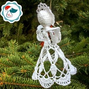 Egyedi horgolt angyalka- Karácsonyfa dísz - karácsonyi dekorácíó- karácsonyi ajándék  (Pindiart) - Meska.hu