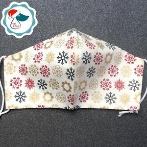Egyedi karácsonyi krém,arany mintás maszk - felnőtt női és teenager arcmaszk - textil szájmaszk - egészségügyi szájmaszk (Pindiart) - Meska.hu