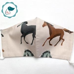Egyedi ló mintás - felnőtt női és teenager szájmaszk - textil szájmaszk - egészségügyi szájmaszk - Meska.hu