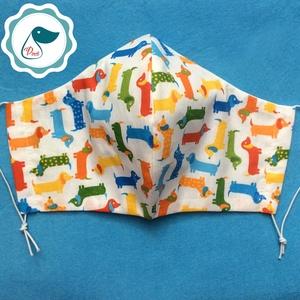 Egyedi tacskós maszk -  kiskamasz szájmaszk - textil szájmaszk - egészségügyi szájmaszk - mosható szájmaszk (Pindiart) - Meska.hu