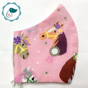 Egyedi lovas maszk -  kiskamasz szájmaszk - textil szájmaszk - egészségügyi szájmaszk - mosható szájmaszk, Maszk, Arcmaszk, Gyerek, Baba-és bábkészítés, Varrás, Meska